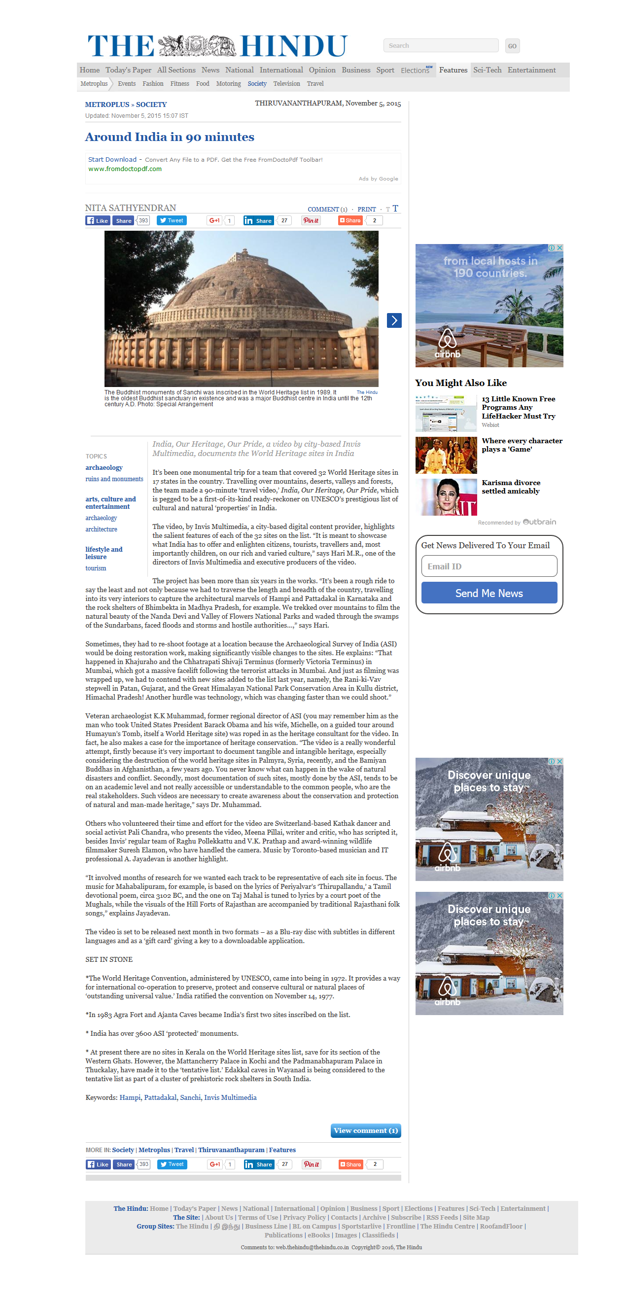 newspaper articles on indian culture and heritage